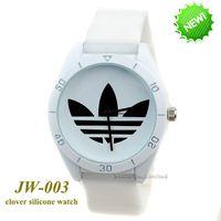reloj de trébol de señoras al por mayor-AD Clover 3 Leaf Grass Ladies Dress Relojes de cuarzo, reloj de los hombres de los deportes masculinos Casual reloj de pulsera de marca de silicona reloj