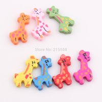 Wholesale Wholesale Flat Wood Beads - 2015 New Mixed Multicolor Cute Giraffe Wood Beads Animal Deer Wooden Beads 35x18mm DIY Jewelry Findings BE385