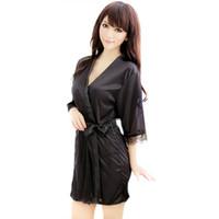 bornoz g string iç çamaşırı toptan satış-Toptan-moda kadın Pijama ROBE Bornoz + G-string Thongs Pijama Lingerie Gecelik XL012