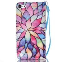 Wholesale Touch 5th Leather - Colorful Lotus Flower Pattern Pu Leather Flip Stand Wallet Wrist Strap Rope Cover Case For Apple iPod Touch 5 5th   Touch 6 6th