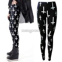 Wholesale Lowest Price Lycra Leggings - Lowest Price !2014 New Personality Women Ladies Black Cross Print Full Length Stretch Skinny Leggings Pants b7 15628