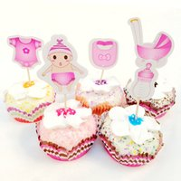 20 unids Baby Bottle Cochecitos Ropa Cupcake Toppers Pick Cartoon Girl Boy Set niño Cumpleaños Fiesta Familiar Cake Cake flags Decoración