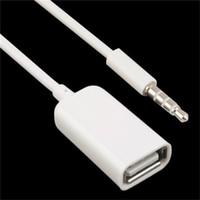 ingrosso otg plug-Bianco 3.5mm Maschio AUX Audio Plug Jack A USB 2.0 Tipo A Femmina Cavo OTG Convertitore Cavo adattatore per auto MP3