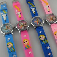 Wholesale Snow White Watches Gift - Holiday New year gift Frozen watch 3D cartoon batman pikachu snow white Elsa Anna olaf wristwatch PVC waterproof girl student watches