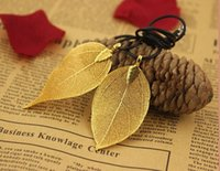 Wholesale Wholesale 24k Gold Jewelry - Natural 24K gold leaf gold leaf gold leaves new female sweater chain female Necklace Fashion Jewelry