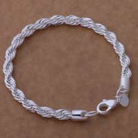 Wholesale Sterling Silver Rope Chain 3mm - Free Shipping with tracking number Top Sale 925 Silver Bracelet 3MM hemp rope Bracelet Silver Jewelry 20Pcs lot cheap 1796