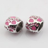 Wholesale Large Metal Circle - Hot Sell ! 50pcs Pink Enamel Footprint Large Hole Spacer Beads Fit Bracelet DIY Jewelry 8x10mm