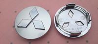 emblèmes de lancer achat en gros de-4pcs / lot 60mm ABS emblème de voiture Mitsubishi cache-moyeux de roue cache-poussière couvre badge anti-poussière pour Outlander 3.0 Lancer EX