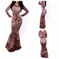 Wholesale Maxi Long Dress Leopard Print - Euramerican style leopard print dress with long sleeves long mop the floor dress YH9049
