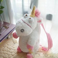 Wholesale Minion Unicorn Stuff Toy - Wholesale-50cm 3D Despicable Me 3 Minions Plush Backpacks Unicorn Girl Backpack Stuffed Toys Cartoon Bags