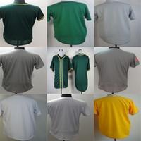 tomada cinzenta venda por atacado-Tomada de fábrica Custom Oakland Mens Womens Crianças Toddlers Personialized Branco Cinza Amarelo Verde Melhor Qualidade Barato Costurado Camisas de Beisebol