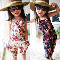 Wholesale Elastic Waist Jumpsuit - Summer Romper Children Baby Girls Floral Printed Sling Romper Jumpsuits Kids Clothing A4910
