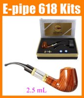 Wholesale E Health Pipe - E pipe 618 Health Smoking Pipe E-pipe Pipe 618 Electronic Cigarette E Pipe Imitate Solid Wood Design 2.5ML Clearomizer ego starter kit TZ304