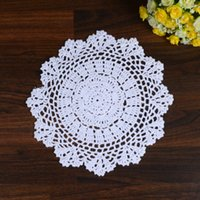 Atacado- LINKWELL 1PCS 100% Algodão Handmade Crochet Doily Doilies Cup Holder Mat Pad Table Coaster Tabletop Placemat 27cm Snowflake White