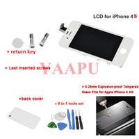 outils d'assemblage iphone achat en gros de-Ecran LCD tactile gros-blanc pour iPhone 4s sans pixel mort + touche retour + Couverture arrière + Outils + verre trempé de 0,26 mm