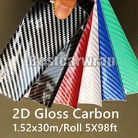 Wholesale carbon 3d cars resale online - Various Colors D Gloss Carbon Fiber Vinyl Wrap For Car Wrap Shiny Carbon Vehicle Wrap Sticker Air bubble Free size x30m Roll x98ft