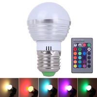 Wholesale Mr16 Mr11 - E27 LED RGB 16 Colors 3W Change Lamp Light Bulb 24 key IR Remote Controller DJ Disco Ball LED Stage Laser Light Party Lights