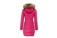 Wholesale Black Rose Hoods - Women winer coats Kapa Nylon Down Jacket rose pink long parkas with Black or Khaki Fur hood
