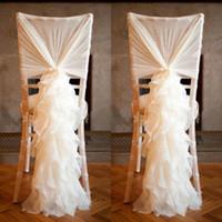 marcos de la cubierta de la silla de encaje de marfil al por mayor-Sash de la silla de moda con gasa 3D delicadas decoraciones de la boda de bambú cubiertas de la silla accesorios de boda envío gratis