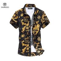 plus größe kleidung stile großhandel-Sommer Stil Shirt Männer Kurzarm 6XL Plus Größe Herrenhemd Camisa Marcas Beach Wear Mann Kleidung Floral Shirt Für Männer 2016
