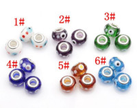 Wholesale Evil Eye Charms Round - Hot Sell ! 100pcs 14mm Evil Eye Murano Lampwork Colored Glaze Big Hole Beads Fit Charm Bracelet DIY Jewelry 6 Colors