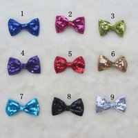 Wholesale Assorted Sequins - free shipping girl Shinning Sequin bow hair Clips Assorted Colors hairbows baby Flower Warmer Fun Party Accessory Headwear 100pcs lot