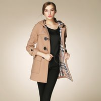 Wholesale Womens High Collar Coats - Wholesale-Fasicat High Quality Womens Duffle Coat Long Turn Down Collar Woolen Coats Wide Waisted Single Breasted Autumn Outwear 9088
