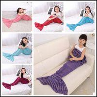 Wholesale handmade crochet animals online - 13 Colors cm Kids Handmade Knitted Mermaid Blankets Mermaid Tail Blanket Crochet Blanket Throw Bed Wrap Sleeping Bag CCA8355