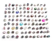 ingrosso branelli dei monili del rhinestone-Il trasporto libero 100 pz / lotto mix stile colorato strass metallo grande foro perline di cristallo charms misura gioielli fai da te braccialetto europeo fai da te