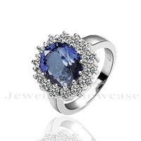 Wholesale Princess Kate Sapphire Ring - Simulated Sapphire CZ Engagement Ring Replica Kate Middleton Princess Diana Style The Royal Ring US6-8 with Gift Box
