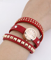 spikes bracelet items - Miin Order USD Mix Item SPX2915 Red fashion vintage square spike bracelet bangle wrist brand leather watch High quality