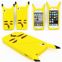 Wholesale Iphone Back 4s Style - 2015 New Style Anime Cartoon 3D Pocket Monsters Pikachu Cute Silicone Back Cover Case For iPhone 4 4s 5 5s 6 6s 6 plus Free Shipping DHL
