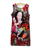 Wholesale Pencil Dresses For Sale - Fashion Maria print summer dress for girl 2016 Western style design Western style women casual dresses wholesale clothing mix order hot sale