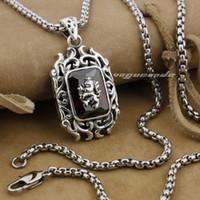 Wholesale Fire Stone Necklace - 925 Sterling Silver Lion On Fire CZ Stone Mens Biker Rocker Pendant 9E009(Necklace 24inch)