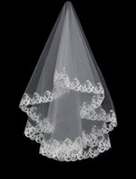 Wholesale Low Price Wedding Veils - Low Price Cheap Sexy Lace Applique Edge Birdcage Bridal Veils Accessories Beach Wedding Veil Favor Short Elbow Length 2015 White Ivory T9