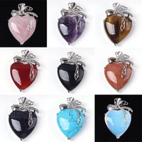 Wholesale Heart Shaped Agate Stone - Charm Amethyst Red Agate etc Heart-shape Bead Natural Stone Pendant Accessories Silver Plated Heart Flower European Fashion Jewelry 10X Mix
