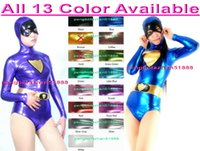 Wholesale catwoman costumes sexy - Sexy Catwoman Bodysuit New 15 Color Shiny Metallic Short Cat Suit Catsuit Costumes Sexy Superhero Catwoman Suit Costumes Halloween Suit P094