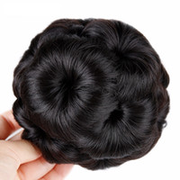 Wholesale Synthetic Hair Extensions Bun - Bun Donut Chignon With Plactic Comb For Women High Temperature Synthetic Fiber Hair Clip In Elastic Fake Hair Extension