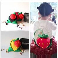 Wholesale Wholesale Princess Drawstring Backpack - 2015 fashion cute strawberry Backpack fashion cartoon children Drawstring Bags Korean princess bag for girl Fruit stereo package H033