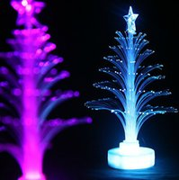 Wholesale Wholesale Fiber Optic Christmas Trees - 12cm Christmas tree fiber optic light colorful light emitting the flowers three-dimensional christmas tree decoration gift