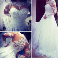 Wholesale Miss Dresses Com - vestidos de noiva com manga 2016 New Romantic A Line Beaded Sheer Lace Wedding Gowns Long Sleeve Wedding Dresses