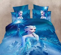 Wholesale Sheet Set Single Girl - Blue Color Frozen Elsa Bedding Set Girls Childrens Bedroom Decor Single Twin Size Bed Sheets Quilt Duvet Covers 3pcs No Filler