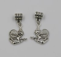 Wholesale Witch Bracelets - Hot ! 200pcs Antique Silver Witch Dangle Bead fit European Charm Bracelets 36 x 19 mm Jewelry DIY