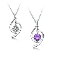 cheap purple necklaces UK - 15pcs Crystal Purple Pendant Chokers Necklaces Charms Jewelry for Weddings Sale Women Girls Cheap Match Prom Dresses WITHOUT CHAIN Necklace