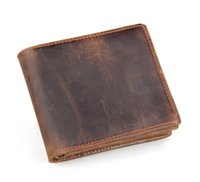 Wholesale Wholesale Cowhide Wallets - 8056R Handmade Retro Crazy Horse Leather Wallet Mens Thick Cowhide Wallet Short Folded Card Package Free Shipping 20PCS LOT