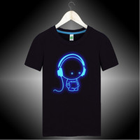Wholesale Night Shirt Men - Wholesale-Headphone Funny t shirts for men DJ night club queen Glow in the dark shirt quality cotton brand t shirt hiphop clothes GC917