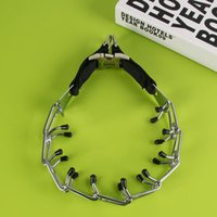 Wholesale Big Dog Chains - New Training Dog Chain Adjustment Large Dog P Chain Stimulate Big Dog Collar Chrome Metal Train Stimulation Pet Necklace Collars