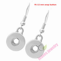 Wholesale Girls Metal Bangles - 2016 New 10 Pair Women's Fashion Snap Buttons Earrings jewelry Fit Sweet Metal mini 12 mm Snap Buttons Earrings For Women Girls