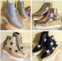Wholesale Wedge Creepers - Women Leather Ankle Boots Stella Mccartney Star Creepers Shoes Rose Gold Strappy Wedges Platform Winter Flats Shoes Espadrilles Original Box