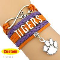 Wholesale Infinity Bracelet Orange - Wholesale-(10 Pieces Lot) High Quality Infinity Love NCAA Clemson Tigers Bracelet Orange Regalia Custom Any Styles Themes Drop Shipping